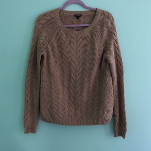 Express Tan Cable Knit Sweater